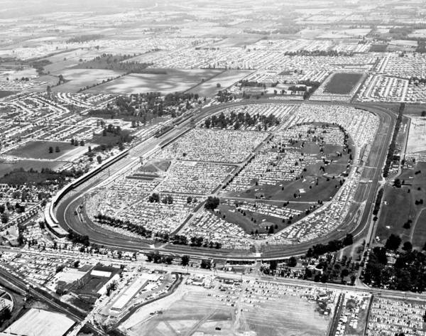 1950's Poster featuring the photograph Aerial Of Indy 500 by Underwood Archives
