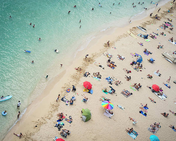 Honolulu Poster featuring the photograph Aerial View Of Tourists On Beach by Alberto Guglielmi