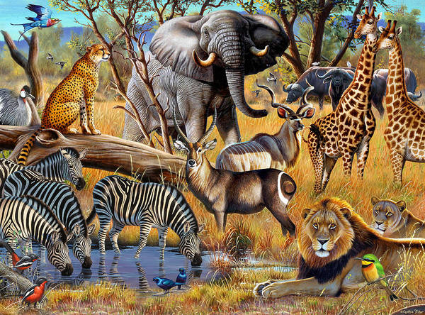 Cynthie Fisher Poster featuring the painting African Collage by Cynthie Fisher