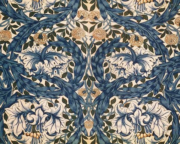Pattern Poster featuring the tapestry - textile African Marigold Design by William Morris