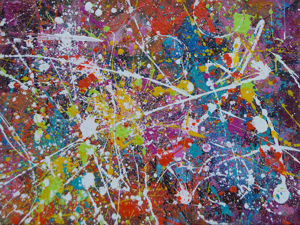 Abstract Poster featuring the painting After Party by Julie Acquaviva Hayes