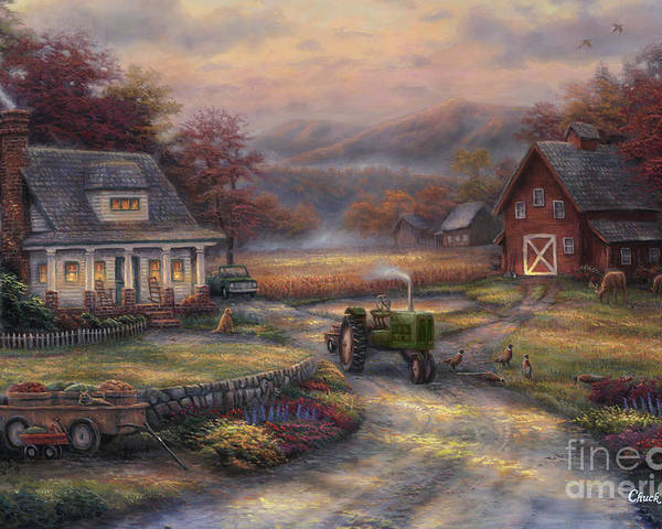 Tractor Poster featuring the painting Afternoon Harvest by Chuck Pinson