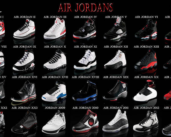 Michael Jordan Poster featuring the digital art Air Jordan Shoe Gallery by  Brian Reaves