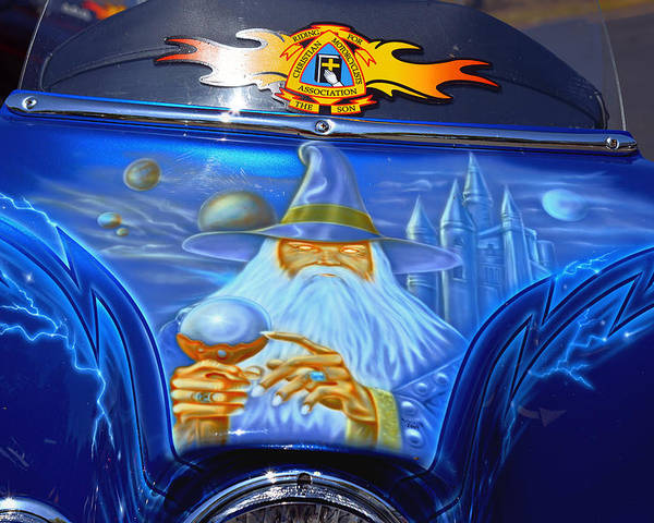 Custom Poster featuring the photograph Airbrush Magic - Wizard Merlin On A Motorcycle by Christine Till
