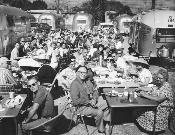 1950's Poster featuring the photograph Airstream Trailer Gathering by Underwood Archives