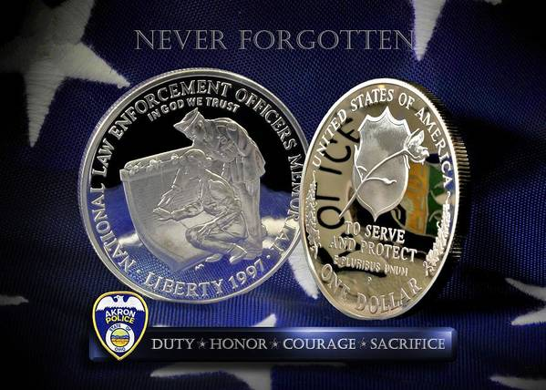 Law Enforcement Poster featuring the photograph Akron Police Memorial by Gary Yost