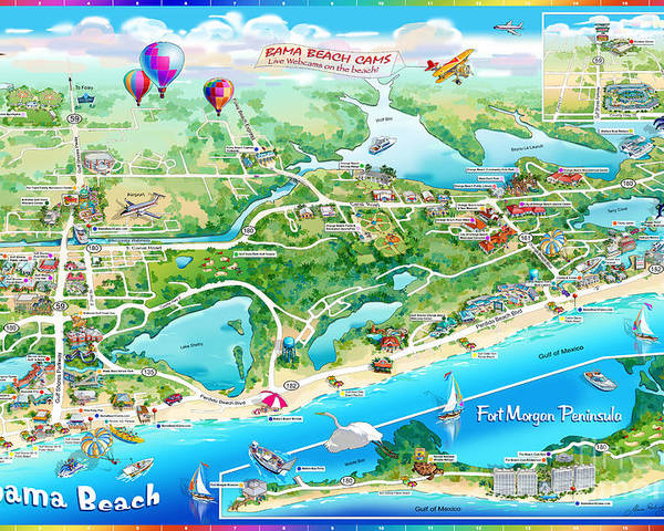 Alabama Beaches Map Alabama Beach Illustrated Map Poster by Maria Rabinky