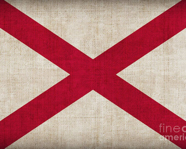Alabama Poster featuring the painting Alabama State Flag by Pixel Chimp