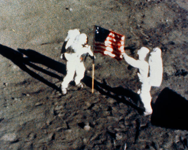 Aldrin Poster featuring the photograph Aldrin & Armstrong Planting Us Flag On Moon by Nasa/science Photo Library