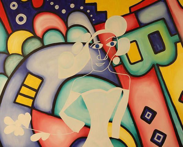 Modern Art Poster featuring the painting Alice In Wonderland by Daniel Burtea