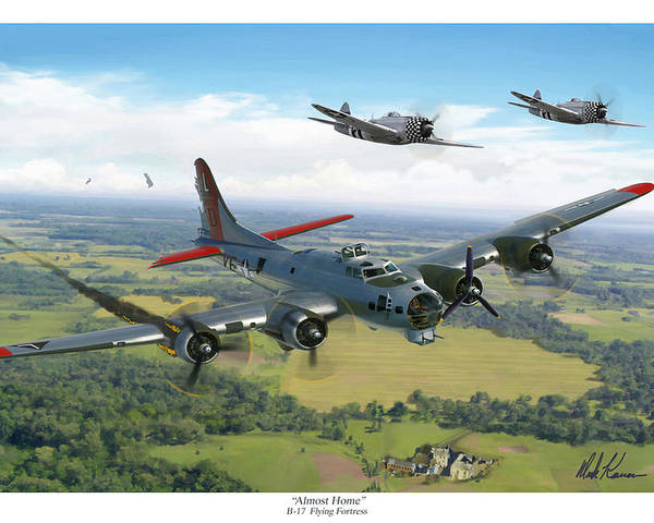 Airplane Poster featuring the painting Almost Home B-17 Flying Fortress by Mark Karvon