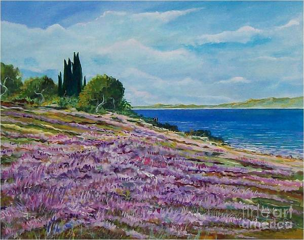 Landscape Poster featuring the painting Along The Shore by Sinisa Saratlic