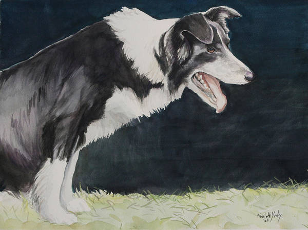Dog Poster featuring the painting Always Ready by Charlotte Yealey