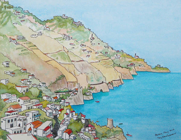 Landscape Poster featuring the painting Amalfi Coast Praiano Italy by Mary Ellen Mueller Legault