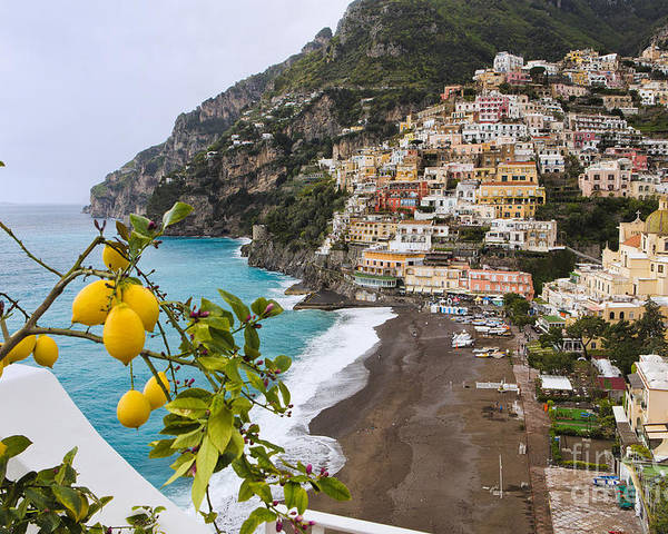 Positano Poster featuring the photograph Amalfi Coast Town by George Oze