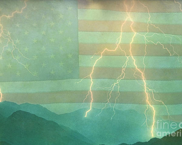 Lightning Poster featuring the photograph America Walk The Line by James BO Insogna