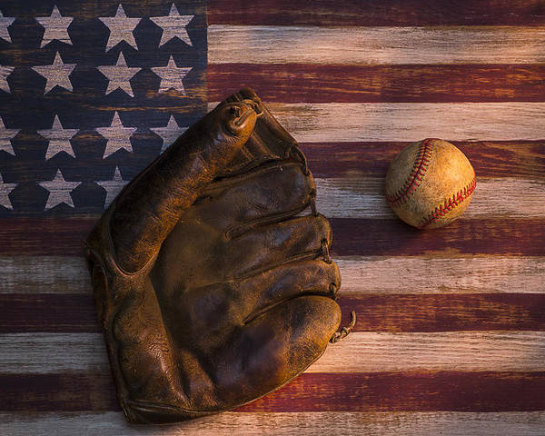 Old Mitt Poster featuring the photograph American Baseball by Garry Gay