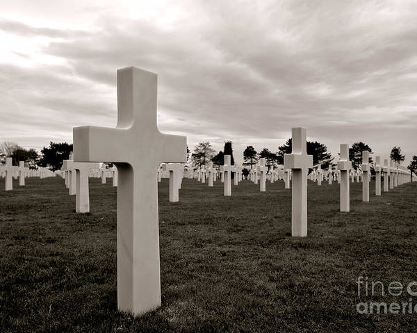 France Poster featuring the photograph American Cemetery In Normandy by Olivier Le Queinec