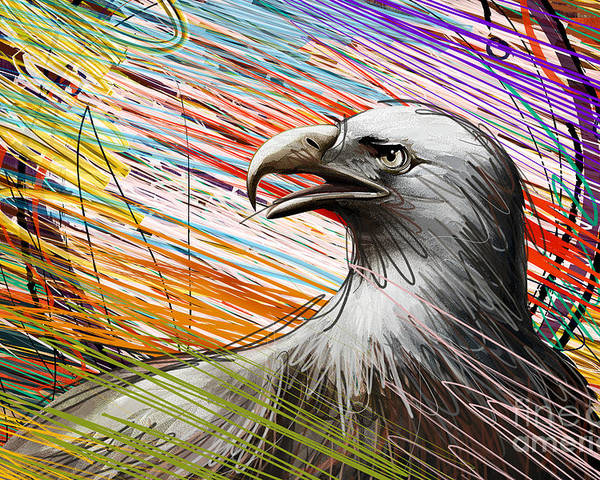 Eagle Poster featuring the digital art American Eagle by Bedros Awak