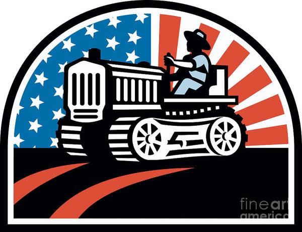 Farming Poster featuring the digital art American Farmer Riding Vintage Tractor by Aloysius Patrimonio
