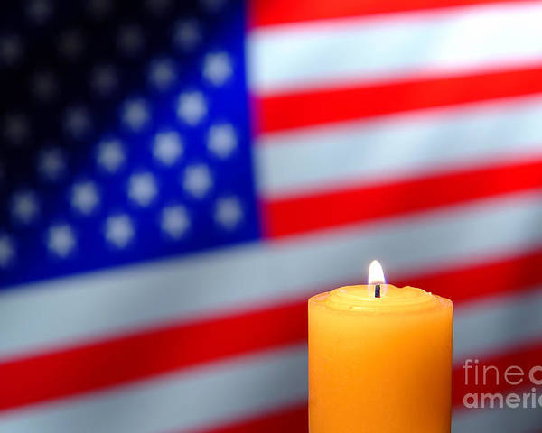 American Poster featuring the photograph American Flag And Candle by Olivier Le Queinec