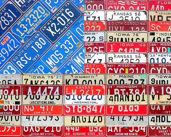 American Flag Recycled License Plate Art Iowa Michigan Kansas Nevada Montana South Carolina Kentucky Missouri Florida Tennessee Illinois Indiana Maine Ohio Washington Usa Patriotic Patriot America Poster featuring the mixed media American Flag Recycled License Plate Art by Design Turnpike