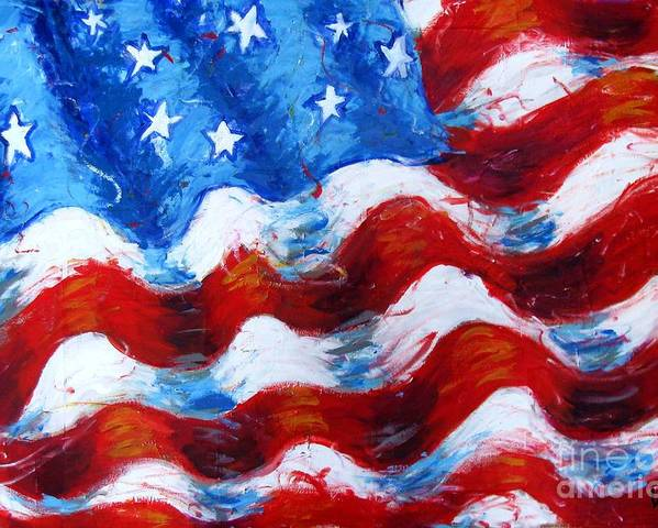 American Flag Poster featuring the painting American Flag by Venus