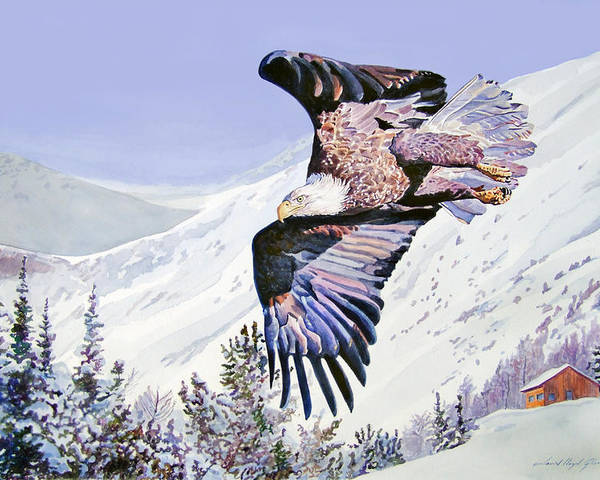 Bald Eagle Poster featuring the painting American Majesty by David Lloyd Glover
