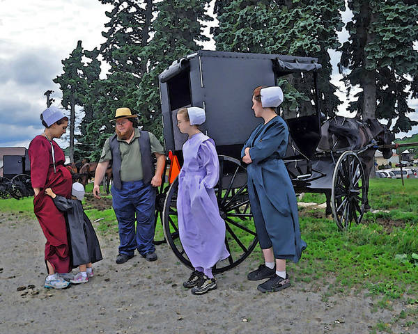 Amish Poster featuring the photograph Amish Family Travelers by Brian Graybill