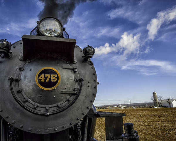 Strasburg Rr Poster featuring the photograph Amish Farmland And Brilliant Blue Sky Frame #475 Steam Engine - Strasburg Rr  02 by Mark Serfass