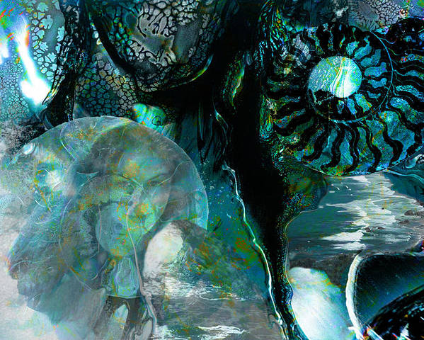 Ocean Poster featuring the digital art Ammonite Seascape by Lisa Yount