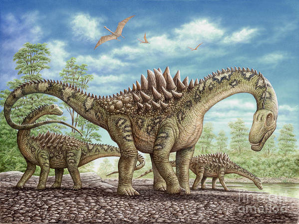 Animal Poster featuring the painting Ampelosaurus dinosaur by Phil Wilson