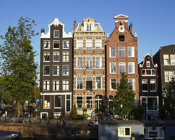 Amsterdam Poster featuring the photograph Amsterdam - Old Houses At The Herengracht by Olaf Schulz