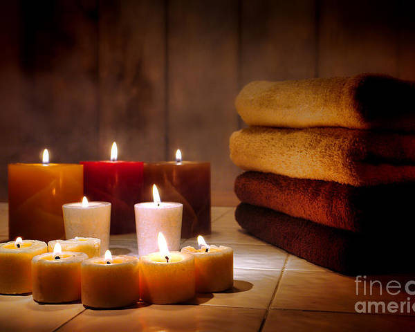 Candles Poster featuring the photograph An Evening At The Spa by Olivier Le Queinec