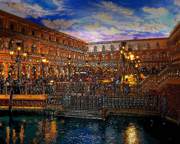 Venice Italy Poster featuring the painting An Evening In Venice by David Lee Thompson