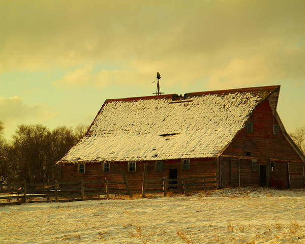 Barns Poster featuring the photograph An Old Barn Just After An Early Spring Snow In Keene North Dakota by Jeff Swan