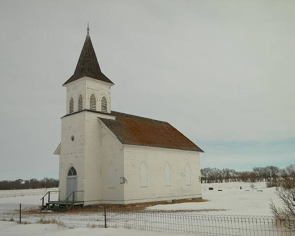 Churches Poster featuring the photograph An Old Church In North Dakota by Jeff Swan