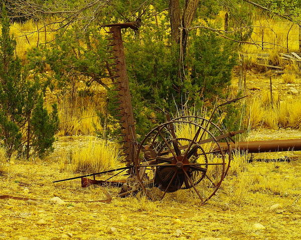 Farm Equipment Poster featuring the photograph An Old Grass Cutter In Lincoln City New Mexico by Jeff Swan
