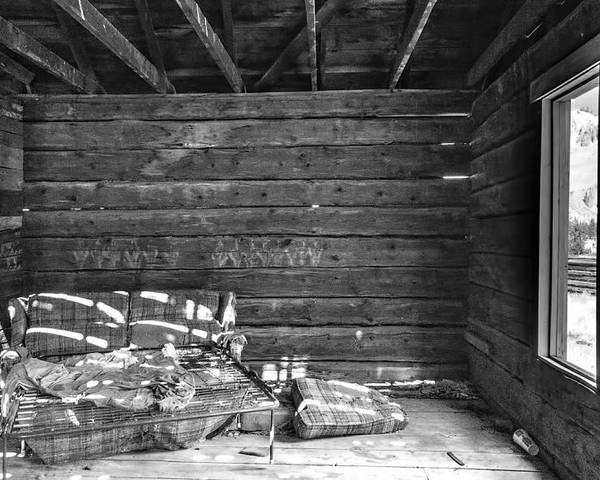 Black And White Poster featuring the photograph An Old Homestead by Irene Theriau