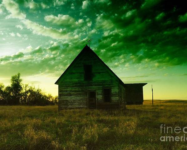 Houses Poster featuring the photograph An Old North Dakota Farm House by Jeff Swan