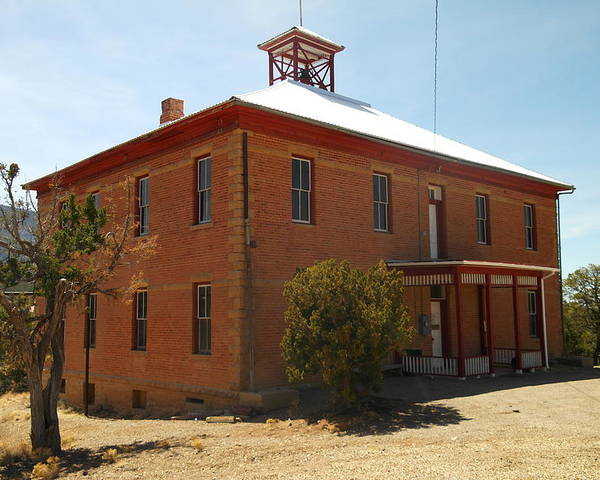 Old Poster featuring the photograph An Old School In White Oaks New Mexico by Jeff Swan