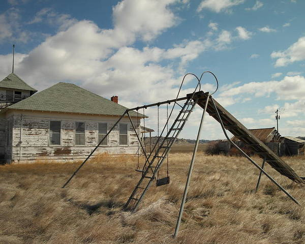 Schools Poster featuring the photograph An Old School Near Miles City Montana by Jeff Swan