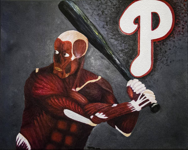 Baseball Poster featuring the painting Anatomy At Bat by Leslie Ann Hammer