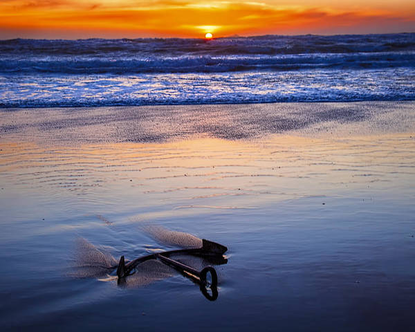 Anchor Poster featuring the photograph Anchor Ocean Beach by Garry Gay