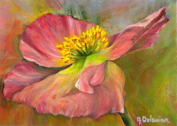 Acrylic Poster featuring the painting Anemone by Muriel Dolemieux