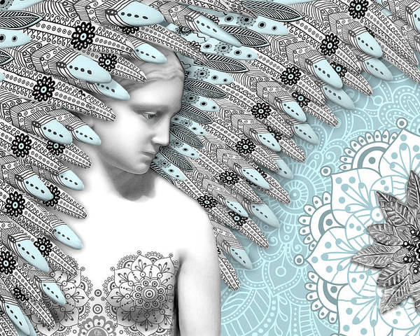 Angel Poster featuring the digital art Angelica Hiberna - Angel Of Winter by Christopher Beikmann