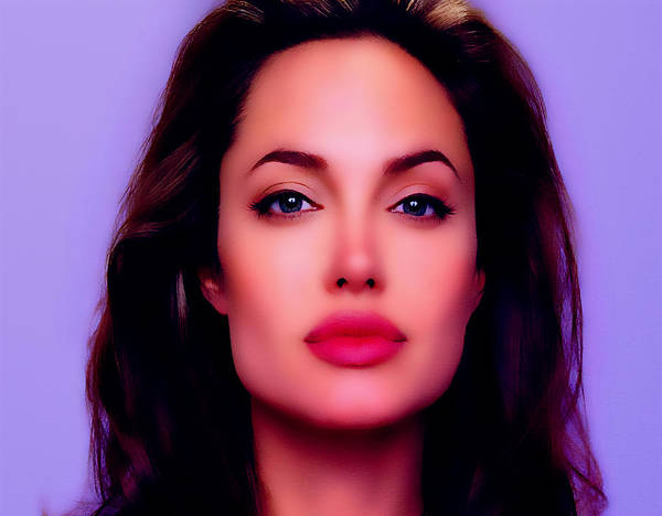 Angelina Jolie Poster featuring the digital art Angelina Jolie Beautiful Lips by Brian Reaves