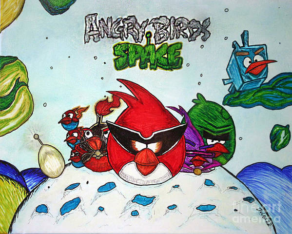 Angry Poster featuring the mixed media Angry Bird Space by Julie Farnsworth