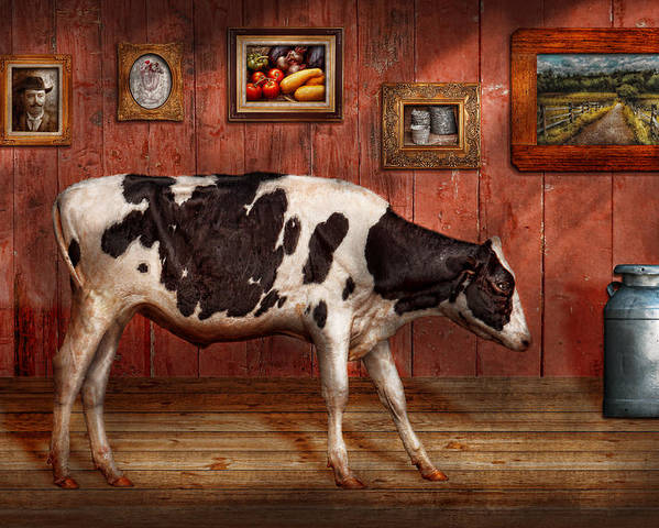 Cow Poster featuring the photograph Animal - The Cow by Mike Savad