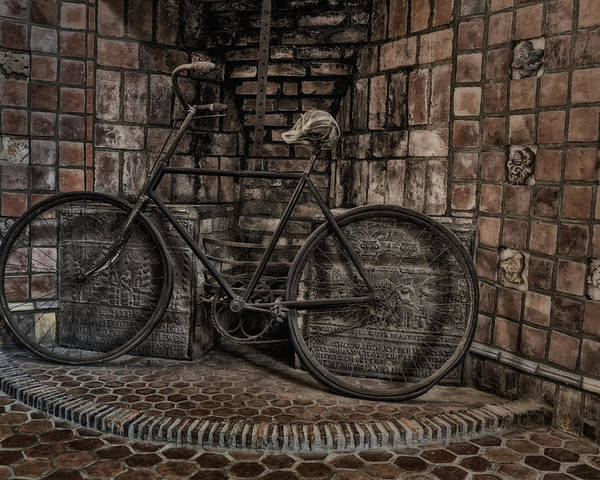 Byzantine Poster featuring the photograph Antique Bicycle by Susan Candelario